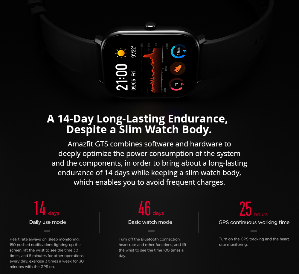 AMAZFIT GTS Smart Sports Watch 1.65 inch Retina Display Modular Dial 5ATM GPS Metal Body English Version - Black