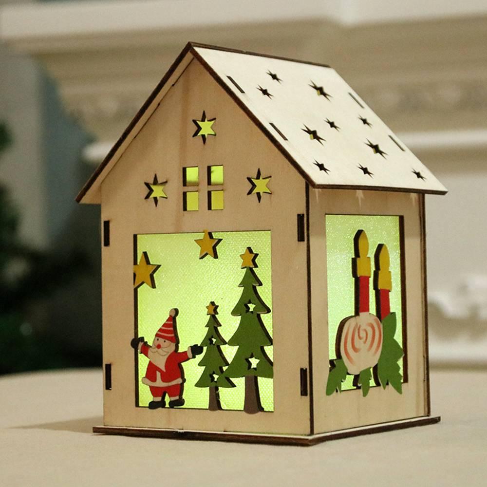 Christmas Decorative LED Light Chalet Luminous Cute Wooden House Christmas R8U3