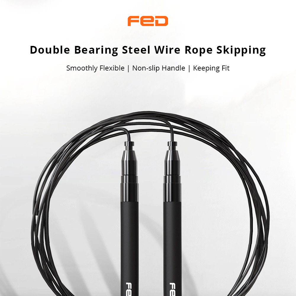 FED Double Bearing Steel Wire Rope Skipping Adjustable Speed Self-locking Design - Black