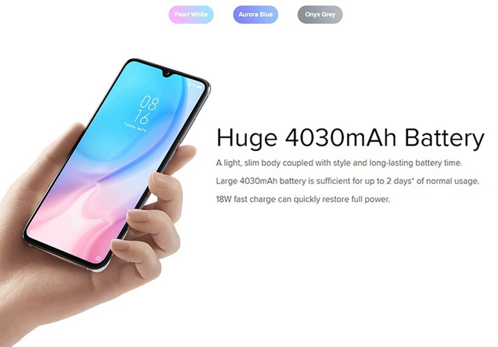 Xiaomi Mi 9 Lite 6.39 Inch 4G LTE Smartphone Snapdragon 710 6GB 128GB 48.0MP+8.0MP+2.0MP Triple Rear Cameras Fingerprint ID Dual SIM MIUI 10 Global Version - Blue