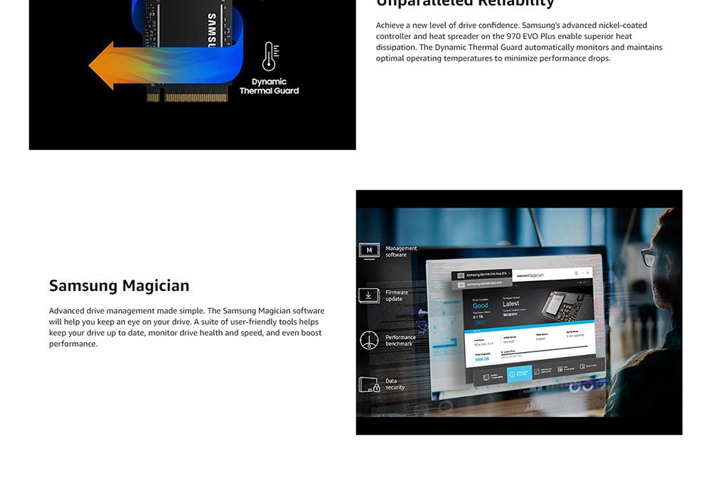 Samsung 970 EVO Plus MZ-V7S1T0B Внутренний SSD 1TB PCIe Gen 3.0 x 4 NVMe M.2 V-NAND 1TB Интерфейс Твердотельный накопитель 3500MB / s Чтение - черный