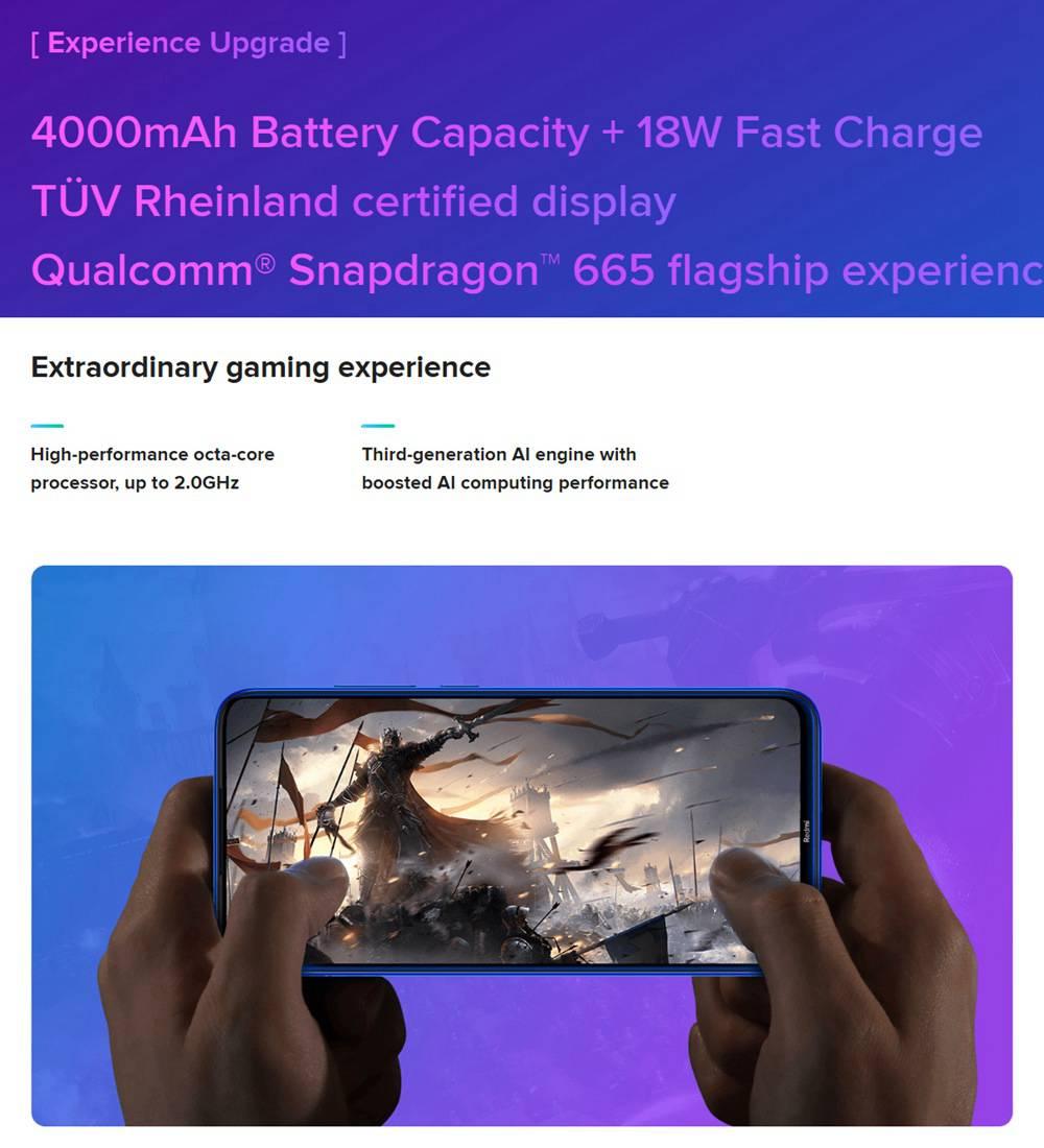 Xiaomi Redmi Note 8 6.3 Inch 4G LTE Smartphone Snapdragon 665 4GB 64GB 48.0MP+8.0MP+2.0MP+2.0MP Quad Camera Fingerprint ID Dual SIM Android 9.0 - Black