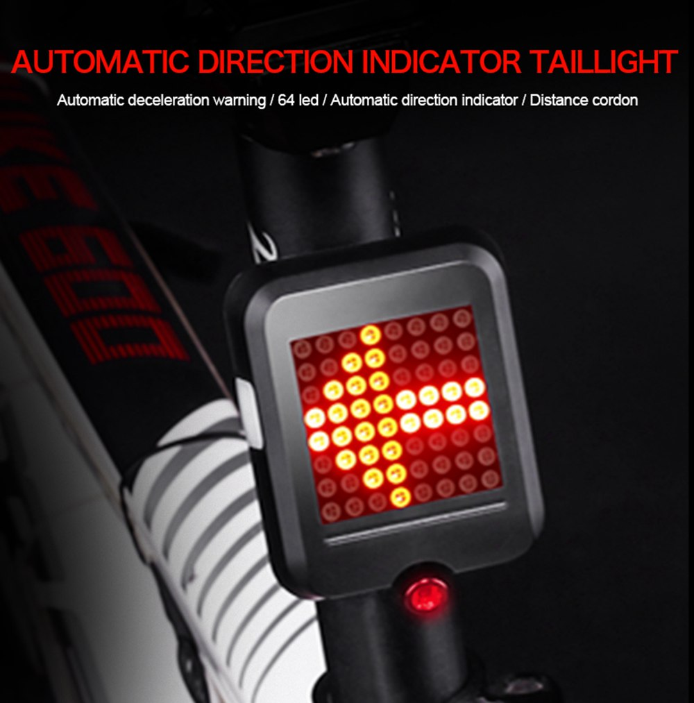 Bicycle Direction Indicator Tail Light Automatic Charging USB Alerts Lights
