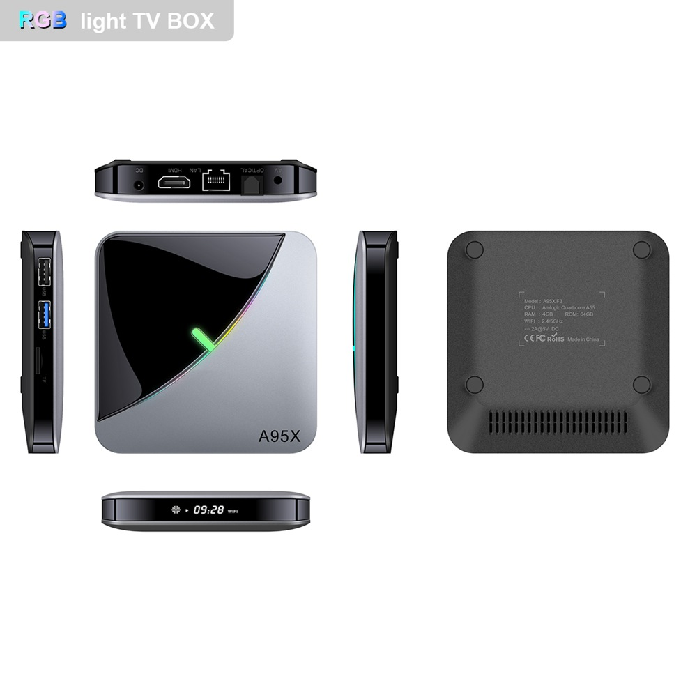 A95X F3 Air Amlogic S905x3 Android 9.0 8K Video Decode TV Box RGB Light 2GB/16GB 2.4G+5G WiFi Bluetooth LAN USB3.0 4K Youtube