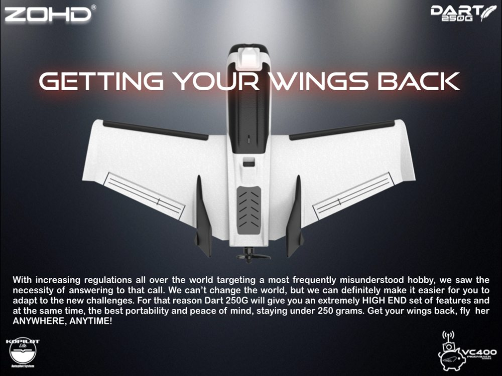 ZOHD Dart250G 570mm Wingspan Sub-250 Grams Sweep Forward Wing AIO EPP FPV RC Airplane With Power System Parts - FPV Ready Version