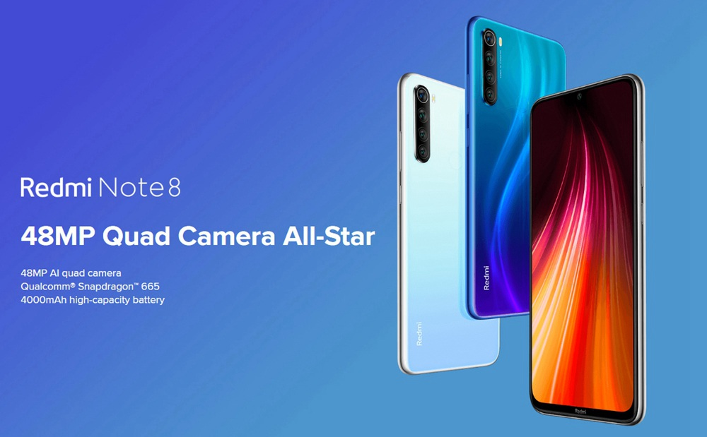 Xiaomi Redmi Note 8 6,3 Zoll 4G LTE Smartphone Snapdragon 665 4GB 64GB 48.0MP + 8.0MP + 2.0MP + 2.0MP Quad Rear Kameras Fingerabdruck-ID Dual-SIM Android 9.0 Global Version - Blau
