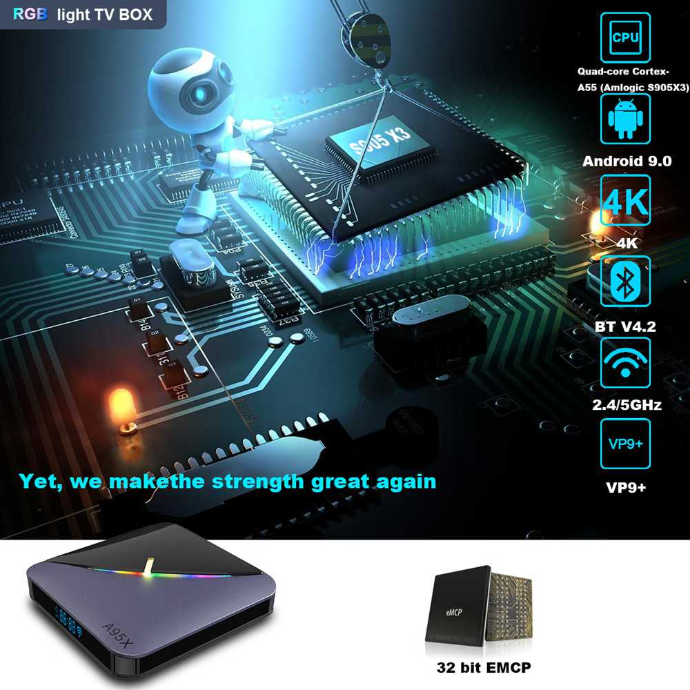 A95X F3 Amlogic S905x3 8K Video Decode Android 9.0 TV Box RGB Light 4GB/32GB 2.4G+5.8G WiFi Bluetooth LAN USB3.0 Youtube Netflix
