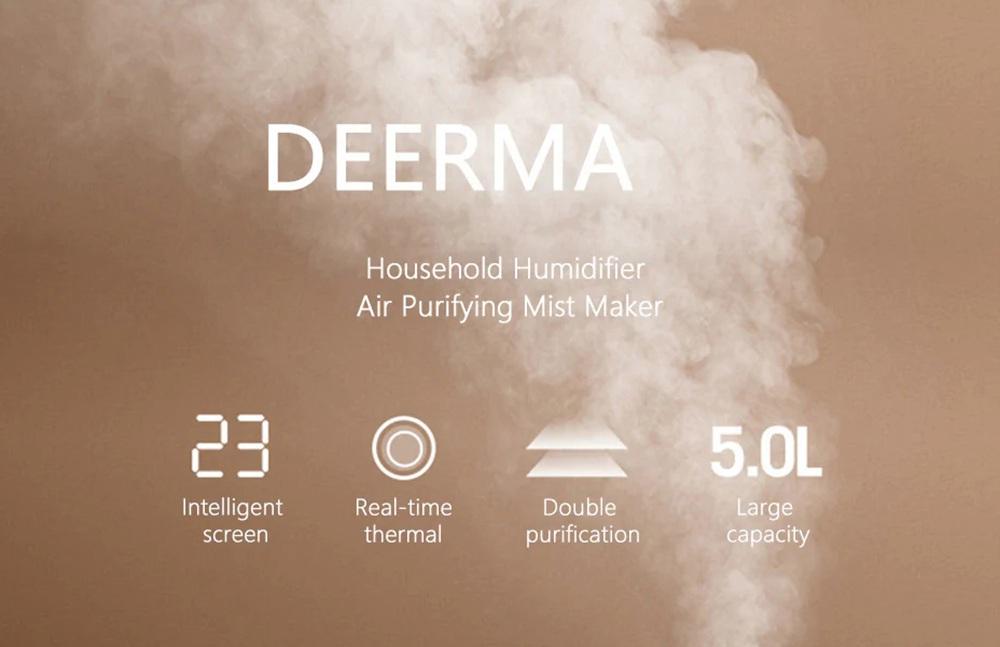 DEERMA DEM F600 Humidificador ultrasónico para el hogar Máquina de aromaterapia con capacidad 5L con caja de purificación de agua de iones de carbono y plata - Blanco