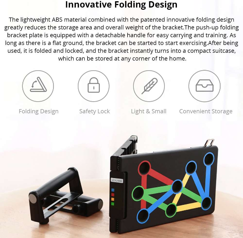 Xiaomi YUNMAI Protable Folding Push-up Support Holder Frosted Handle - Black