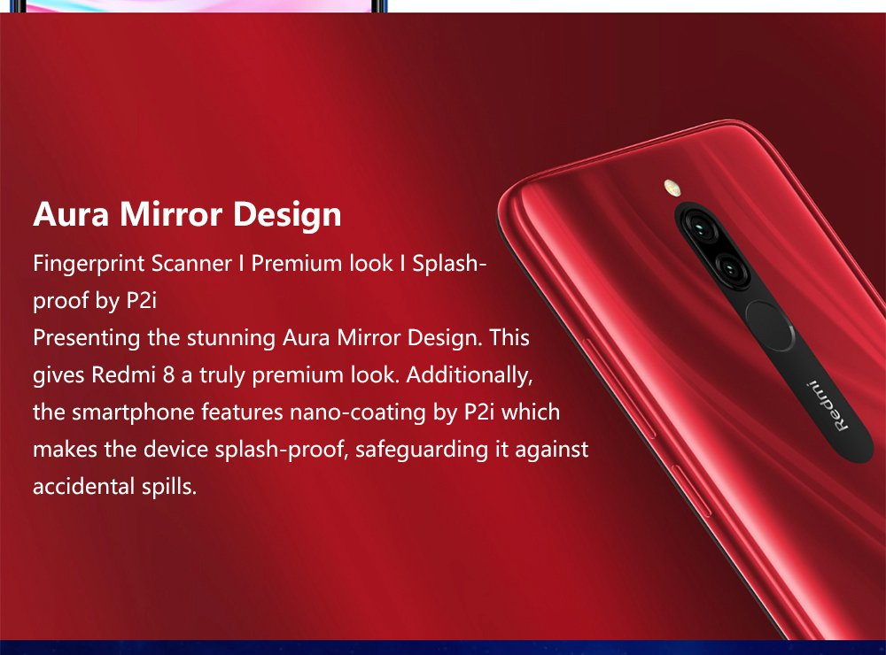 Xiaomi Redmi 8 6.22 Inch 4G LTE Smartphone Snapdragon 439 4GB 64GB 12.0MP+2.0MP Dual Rear Cameras Face Identification Dual SIM MIUI 10 Global Version - Red