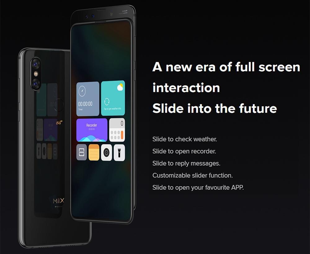 Xiaomi Mi Mix 3 5G Smartphone 6.39 Inch Snapdragon 855 6GB 128GB 12.0MP+12.0MP Dual Rear Cameras MIUI 10 Ceramic Body NFC QC4+ Wired Quick Charge Global Version - Black