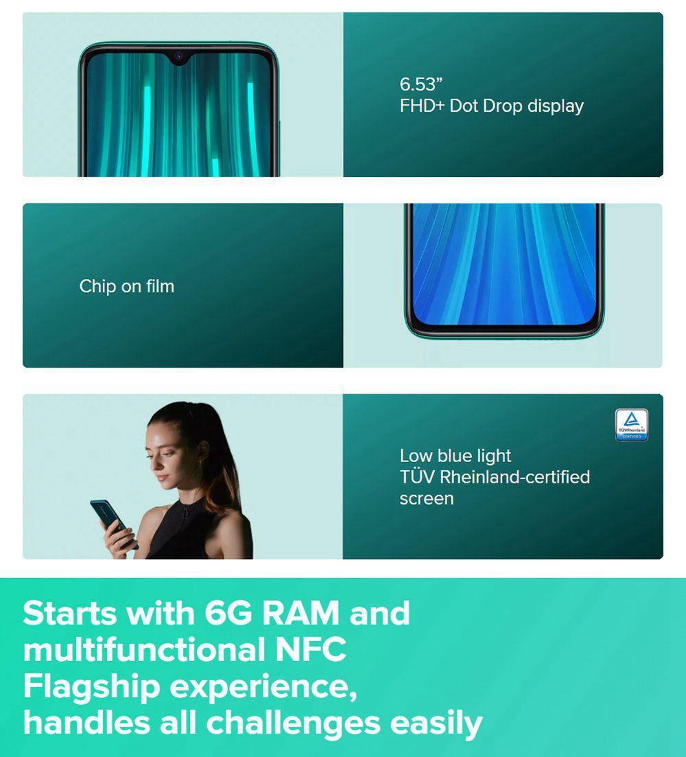 Xiaomi Redmi Note 8 Pro 6.53 Inch 4G LTE Smartphone MTK Helio G90T 6GB 64GB 64.0MP+8.0MP+2.0MP+2.0MP Quad Rear Cameras MIUI 10 Type-C Fingerprint ID Global Version - White