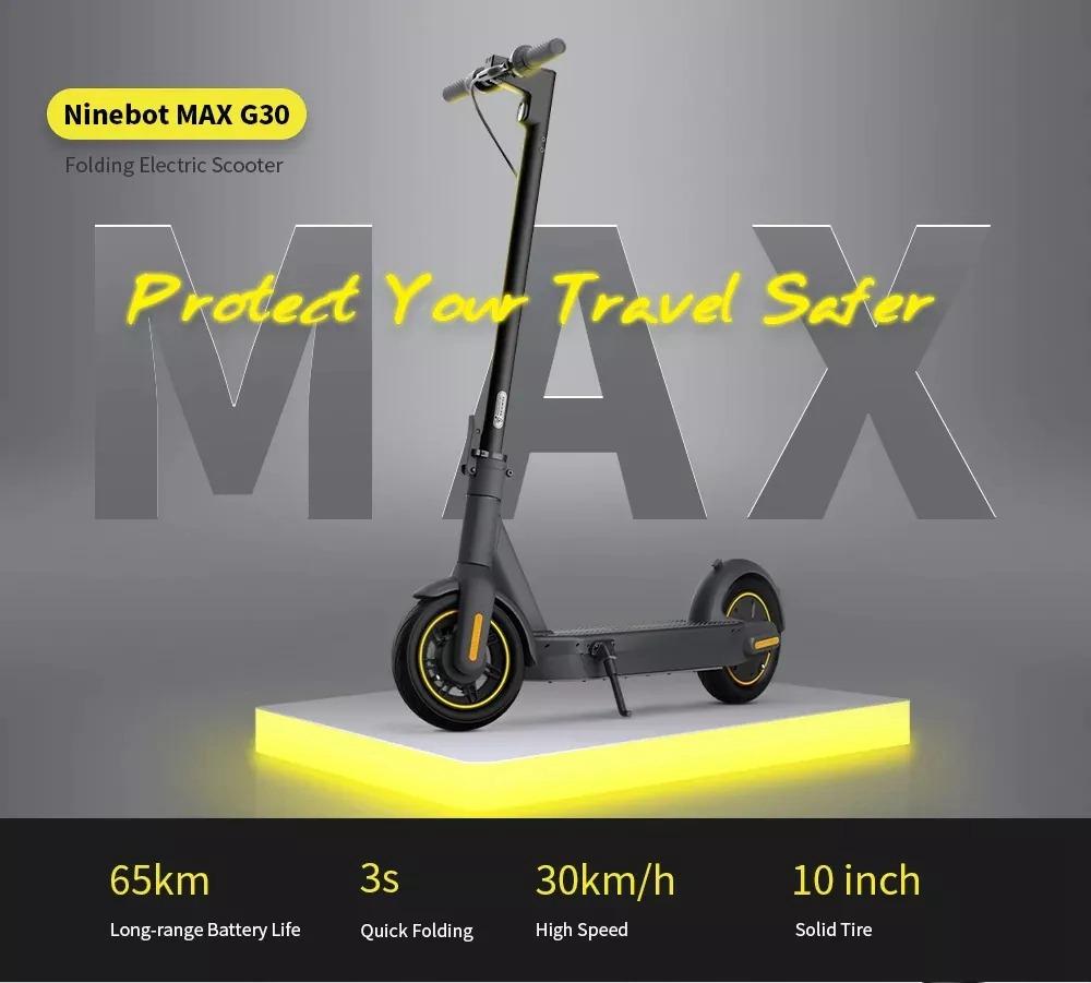 Ninebot MAX G30 נייד מתקפל קורקינט חשמלי 350W מנוע מהירות מקסימאלית 30km / h סוללה 15.3Ah - שחור