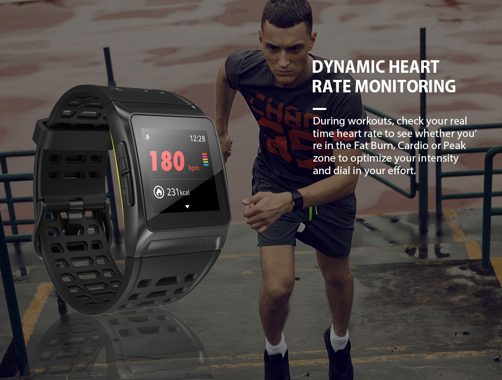 Makibes BR1 Smartwatch Heart Rate Monitor GPS IP67 Water Resistant Multisport Smart Band IPS Color Touchscreen - Black