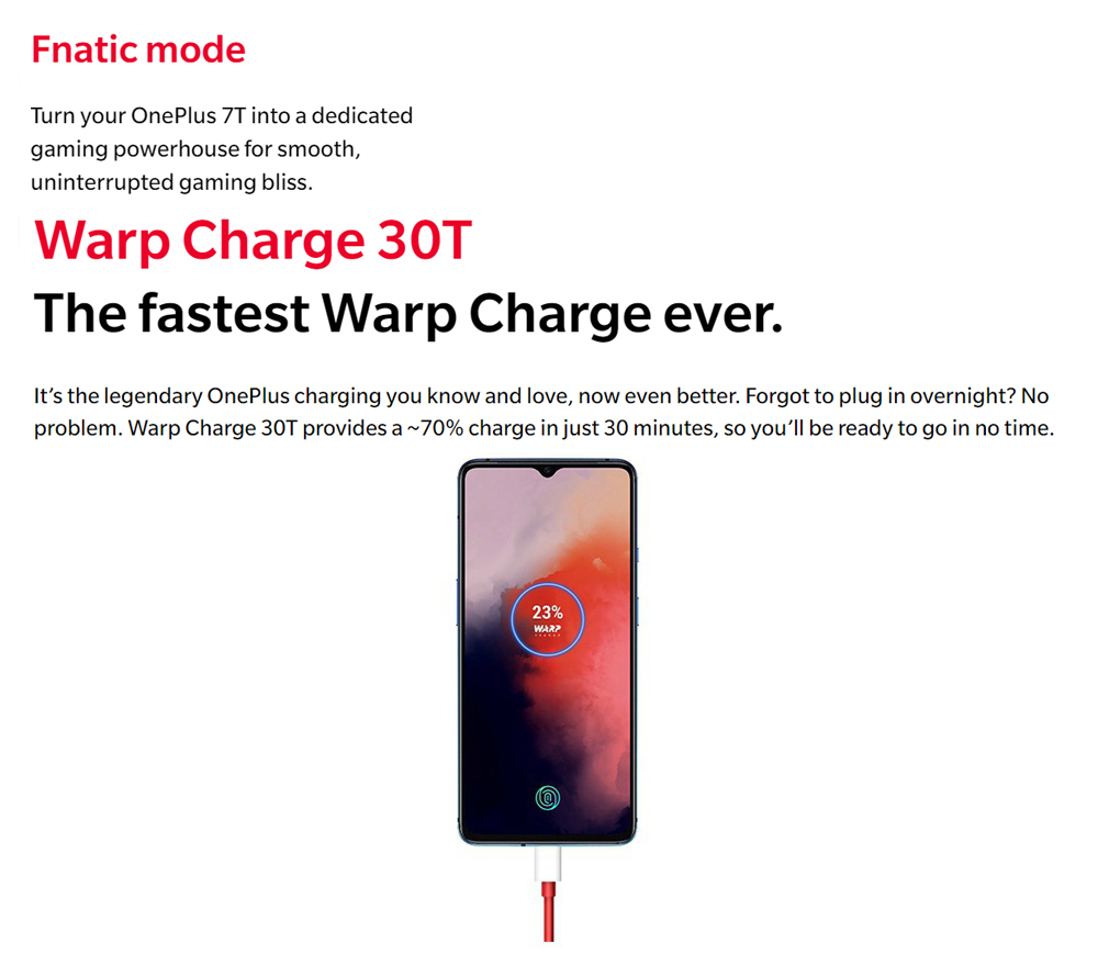 OnePlus 7T 6.55 Inch 4G LTE Smartphone Snapdragon 855 Plus 8GB 256GB 48.0MP+12.0MP+16.0MP Triple Rear Cameras NFC Face Unlock Oxygen OS Global Rom - Frosted Silver