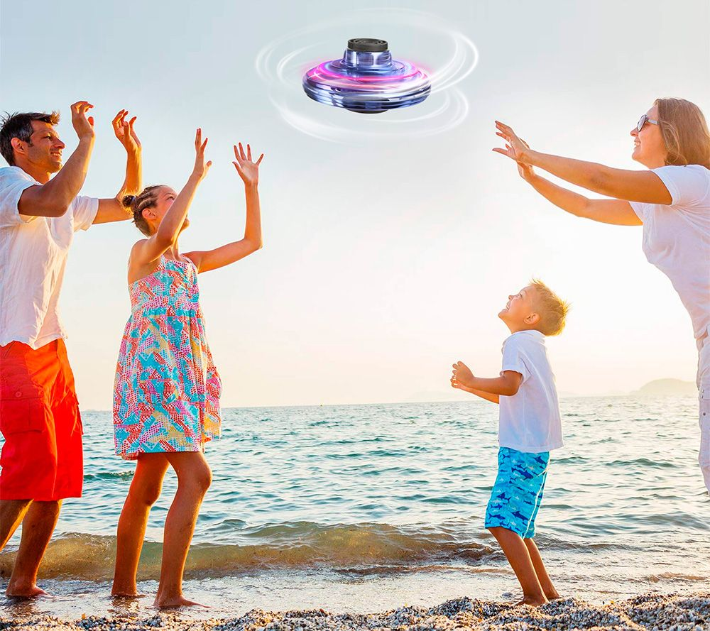 FlyNova Tricked-Out Flying Spinner Toys USB Charging With 360 Degree Rotating And Shinning RGB LED Lights - Black