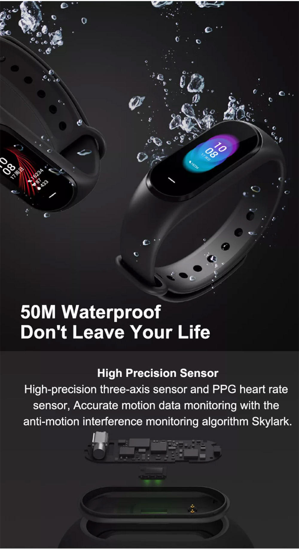 Xiaomi Hey Plus Smart Bracelet 0.95 Inch AMOLED Color Screen Built-in Multifunction Heart Rate Monitor 5ATM Water Resistant 18 Days Standby Swimming Mode - Black