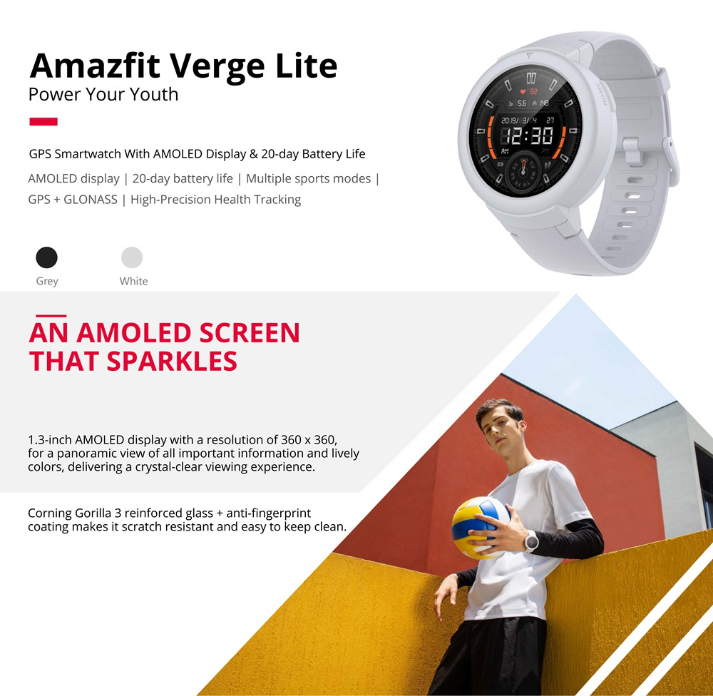 Huami AMAZFIT Verge Lite Smartwatch 20 Days Battery Life 1.3 Inch AMOLED Screen Built-in GPS Heart Rate Monitor Global Version - Deep Gray