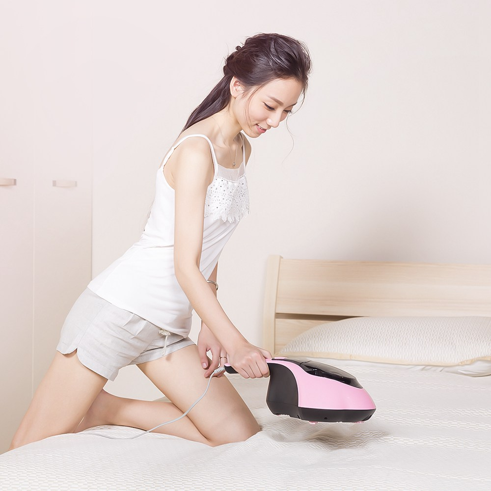 PUPPYOO WP607 Handheld UV Mattress Vacuum Cleaner For Mites Removal - Pink