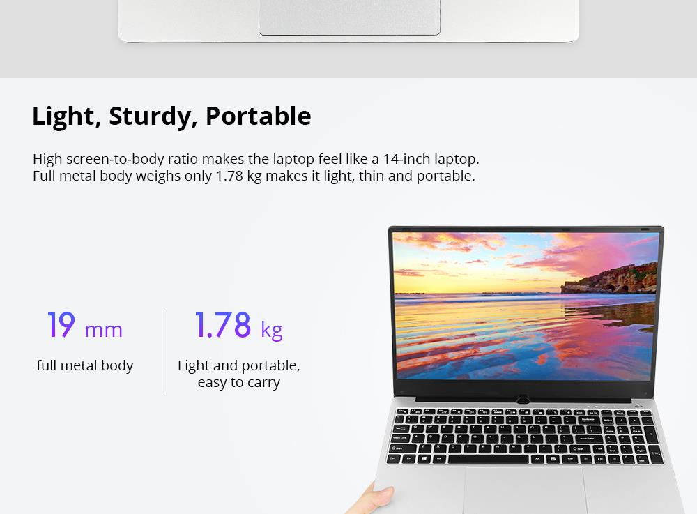 VORKE Notebook 15 4G Laptop Intel Core i5-8250U 15.6'' Screen 1920*1080 Windows 10 8GB DDR4 256GB SSD - Silver