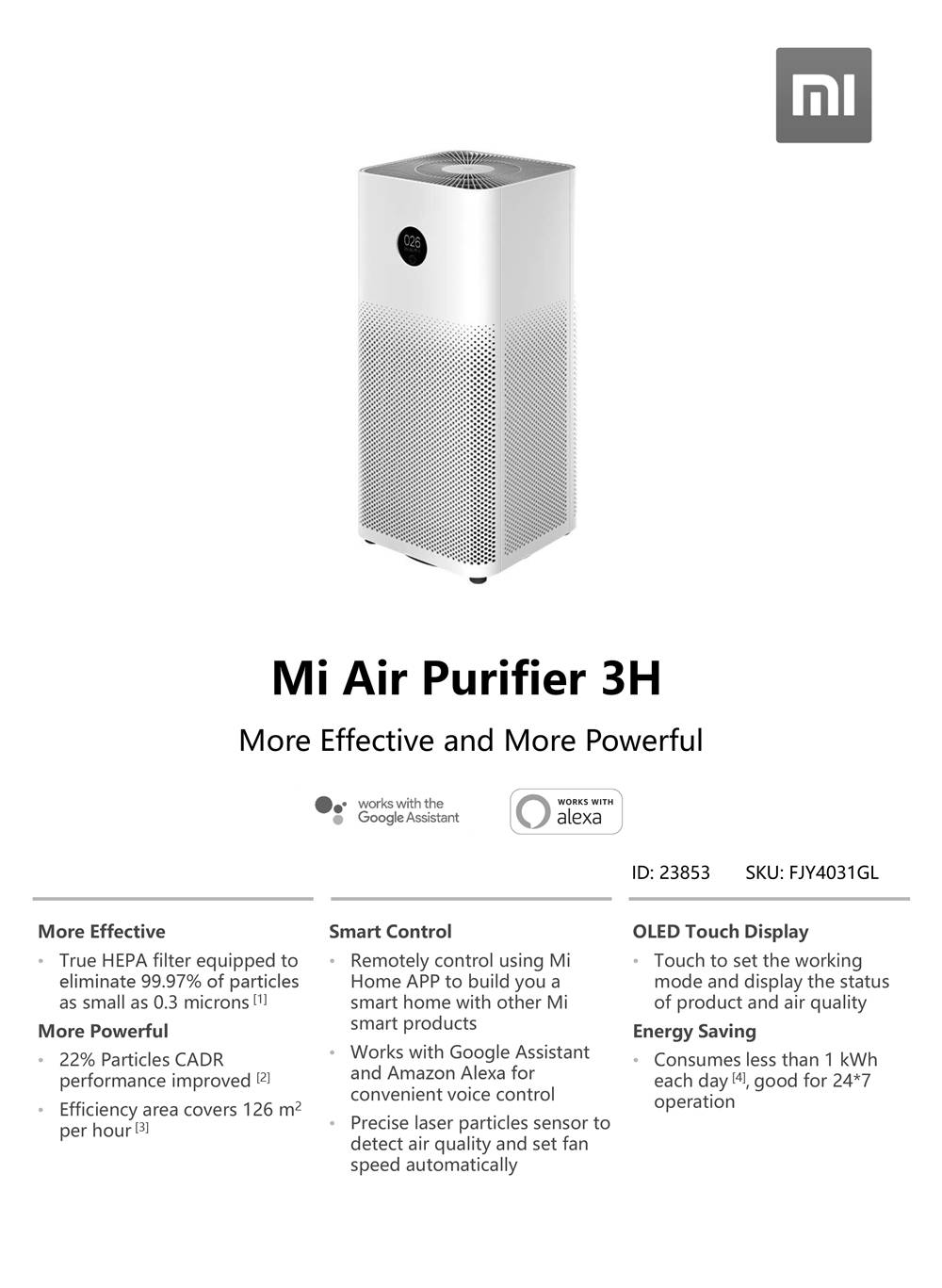 Original Xiaomi Mi Air Purifier 3H APP Control Light Sensor Multifunction Smart Air Cleaner Global Version - White