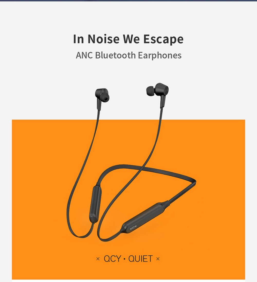 QCY L2 Bluetooth 5.0 Wired Earphones ANC Noise Canceling 10h Music Time with Mic - Black
