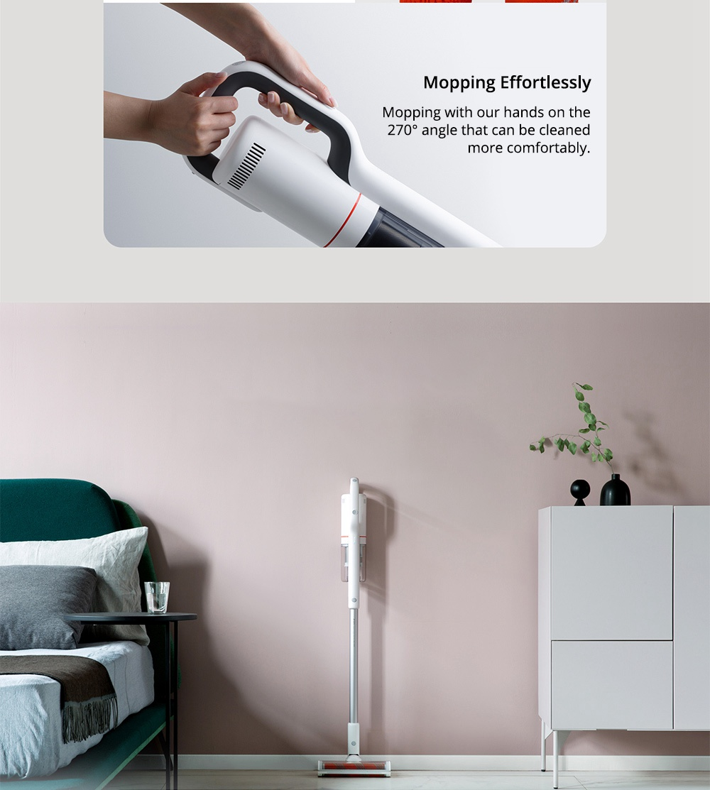 Xiaomi Roidmi NEX Handheld Cordless Vacuum Cleaner 2 in 1 Cleaning and Mopping 23500 Pa Suction APP Control 60 Min Running Time LED Light - White