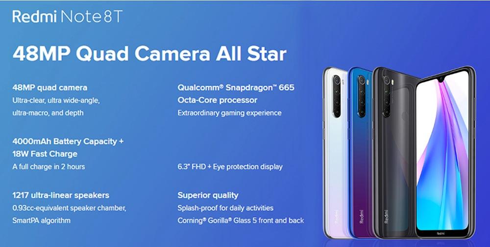 Xiaomi Redmi Note 8T 6.3 Inch 4G LTE Smartphone Snapdragon 665 3GB 32GB 48.0MP+8.0MP+2.0MP+2.0MP Quad Rear Cameras Fingerprint ID NFC Dual SIM Android 9.0 Global Version - Gray