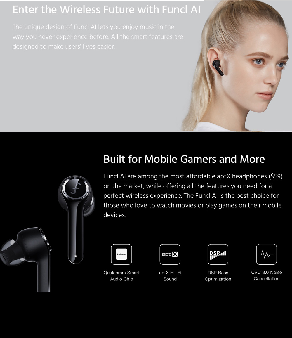 FUNCL AI Bluetooth 5.0 TWS Earphones Qualcomm QCC3026 SBC/AAC/AptX Amazon alesa Siri Google Assistant CVC 8.0 Noise Cancellation IPX5