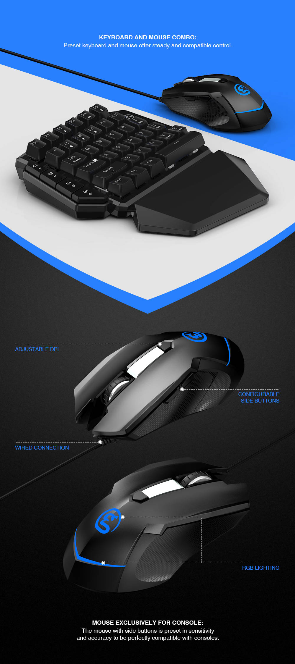 Gamesir Vx E Sports Aimswitch Wireless Keyboard Mouse Combo Black
