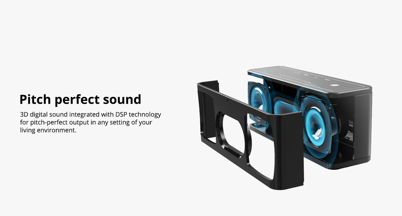 Tronsmart Element Mega SoundPulse ™ Bluetooth reproduktor s výkonným 40 W maximálnym výstupom 3D digitálneho zvuku TWS Intuitívne dotykové ovládanie - čierne