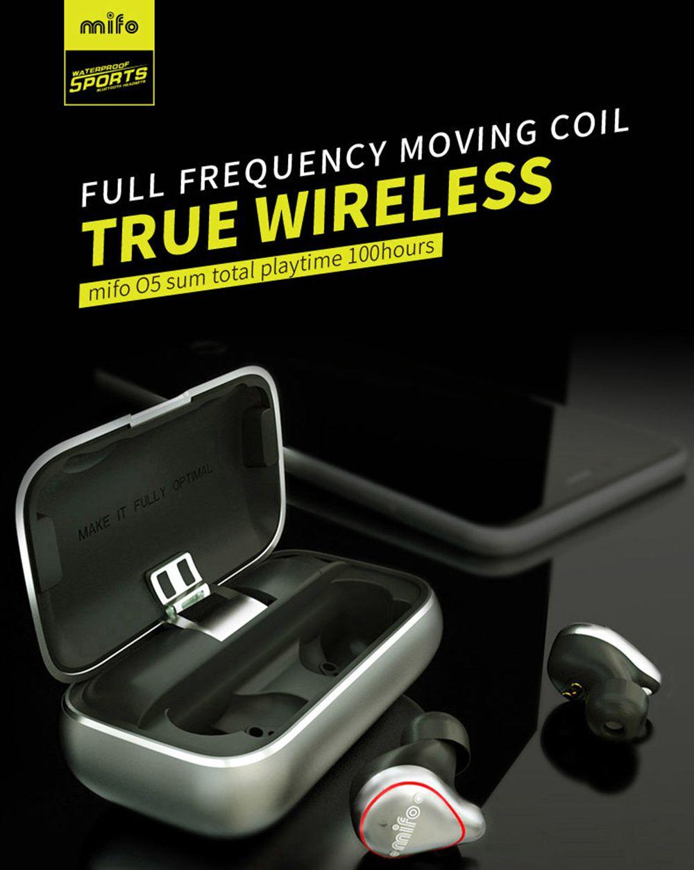 Mifo O5 Bluetooth 5.0 TWS Earbud 2600mAh Ladebox Binaural Anruf HIFI Stereoton IPX7 - Grau