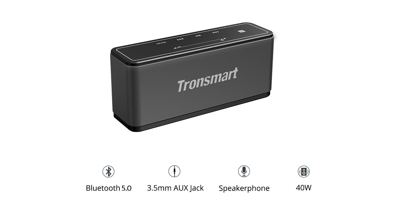 [2 Packs] Tronsmart Element Mega SoundPulse™ Bluetooth 5.0 Speaker with Powerful 40W Max Output 3D Digital Sound TWS Intuitive Touch Control  - Black