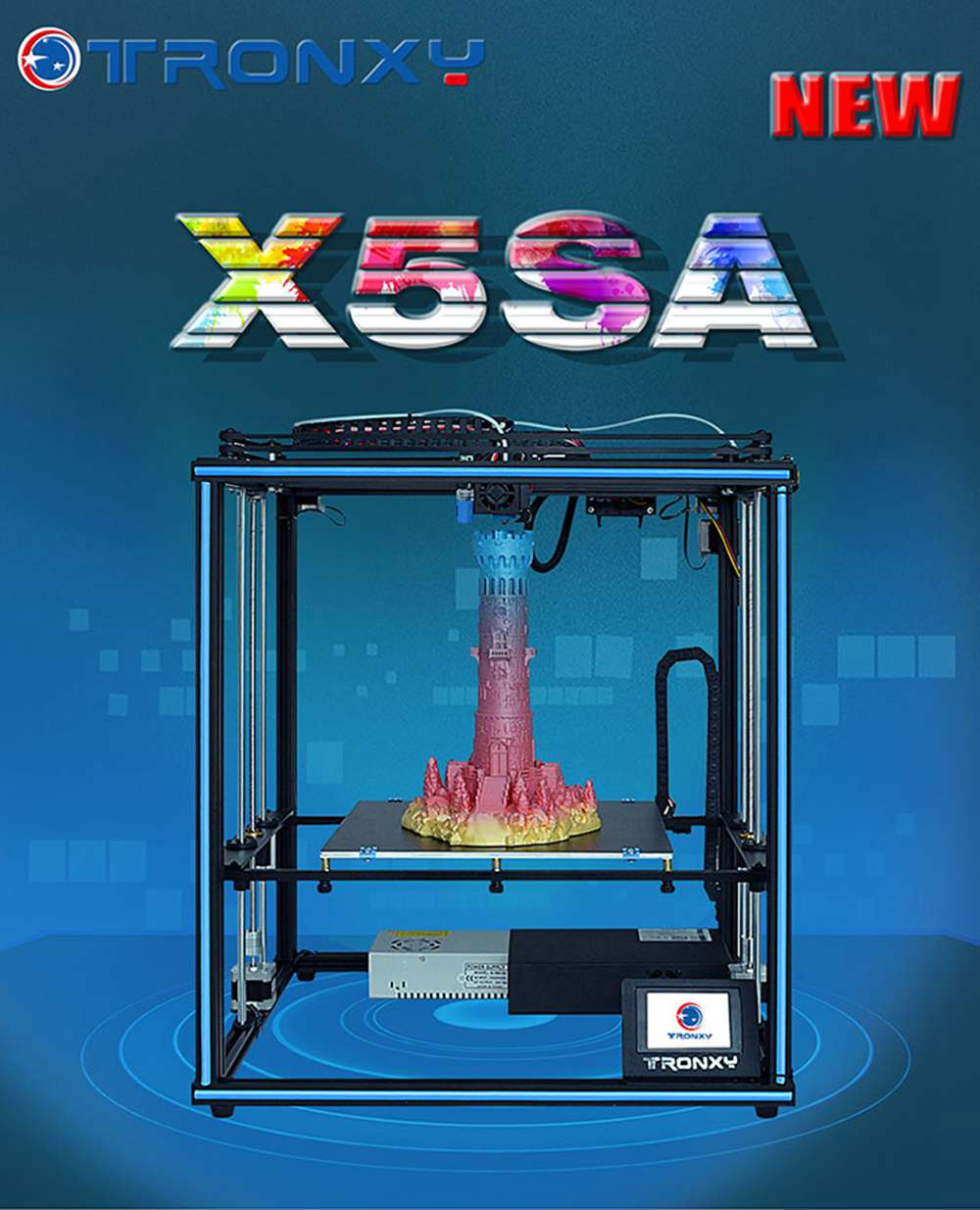 TRONXY X5SA 24V 3D Printer 330 x 330 x 400mm Auto Leveling Filament Sensor Resume Print Function
