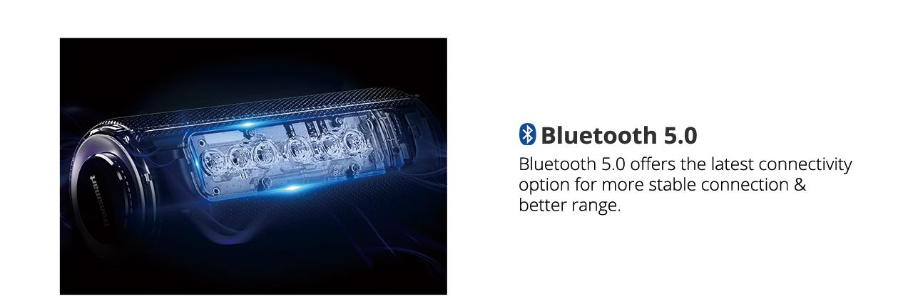 Tronsmart Element T6 Plus SoundPulse™ Portable Bluetooth Speaker with 40W Max Output Deep Bass IPX6 Waterproof - Black