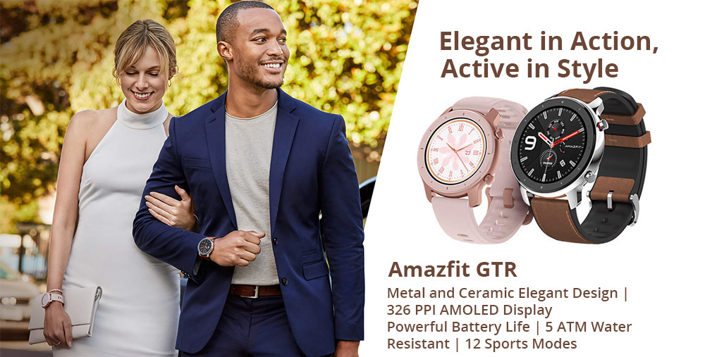 Huami AMAZFIT GTR Smartwatch 1.39 Inch Retina Display 5ATM Water Resistant GPS 47mm Global Version- Aluminum Alloy