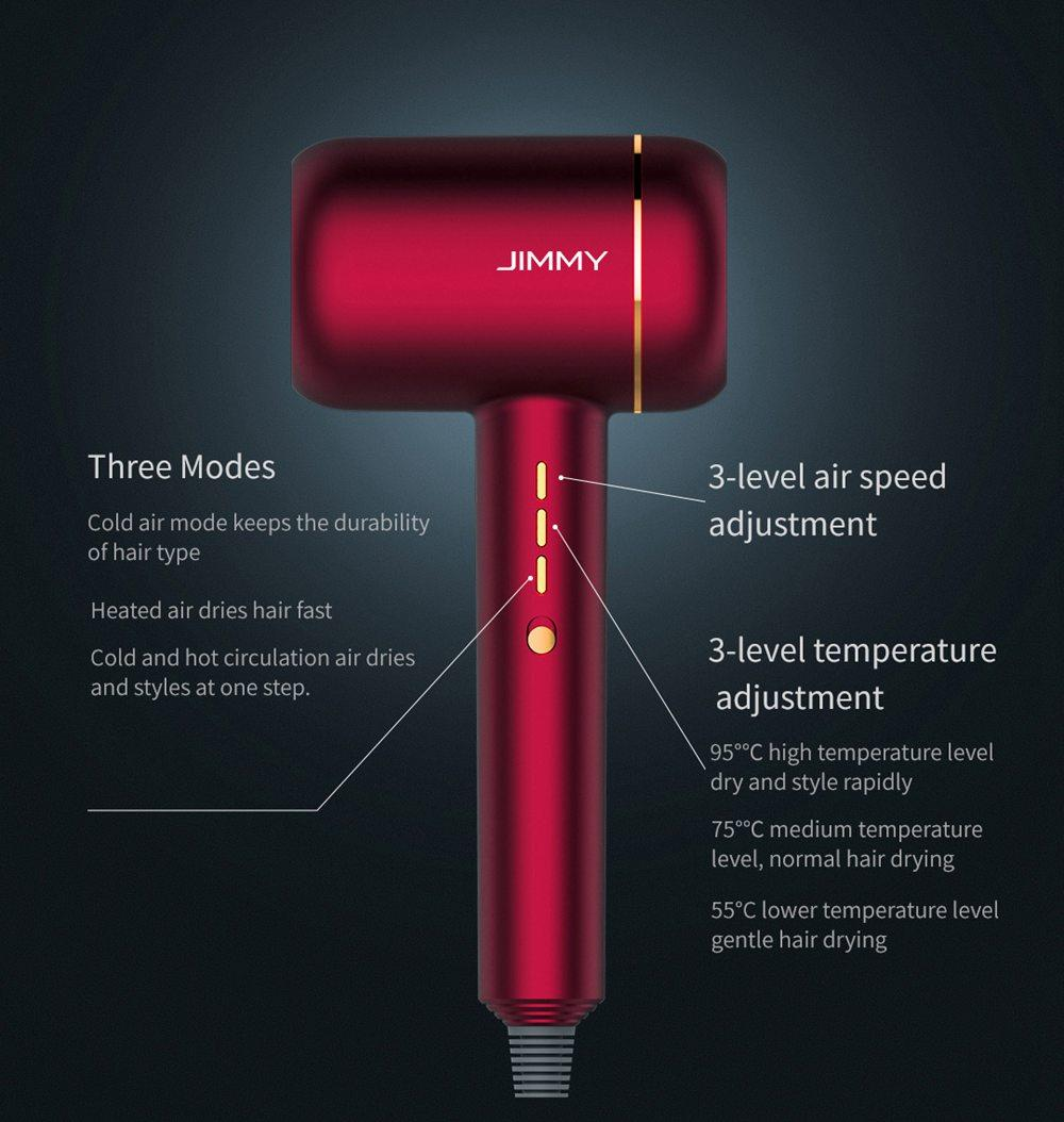 JIMMY F6 Hair Dryer 1800W Electric Portable Negative ion Noise Reducing - Ruby Red