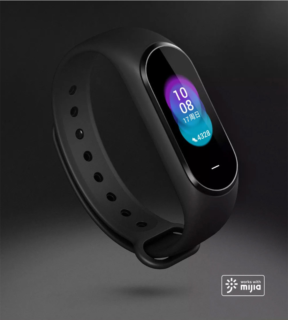 Xiaomi Hey Plus Smart Bracelet 0.95 Inch AMOLED Color Screen Built-in Multifunction Heart Rate Monitor 5ATM Water Resistant 18 Days Standby - Black