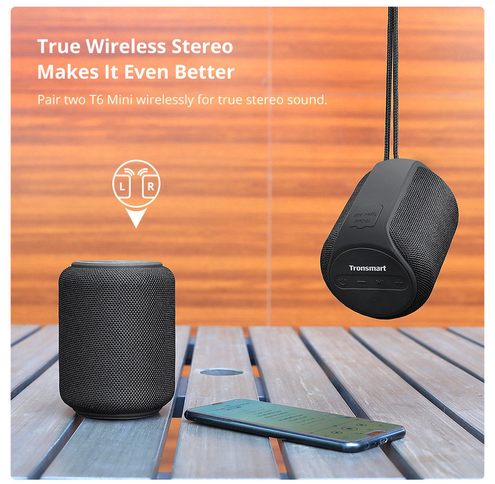 Tronsmart Element T6 Mini Bluetooth 5.0 Speaker 30m Connection Siri Google Assistant IPX6 24H Playtime USB-C