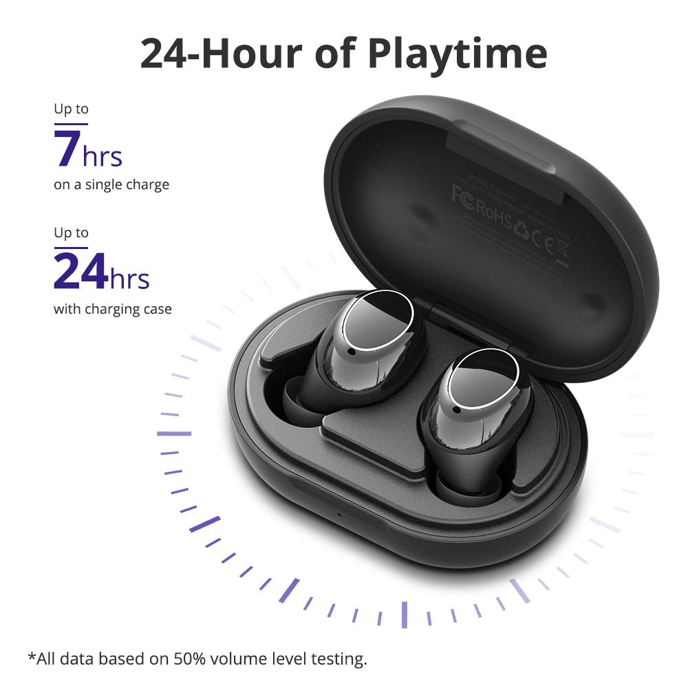 Tronsmart Onyx Neo Qualcomm QCC3020 CVC 8.0 TWS Earbuds aptX/AAC/SBC 15m Connection Mono/Stereo Mode 24H Playtime Battery Display IPX5 - Black