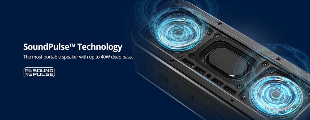 Tronsmart Force SoundPulse ™ 40 W Bluetooth reproduktor IPX7 TWS a NFC 15 hodín prehrávania