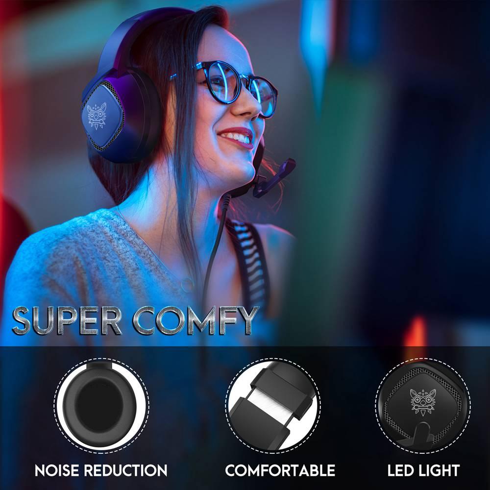 Gaming Headset με RGB LED & Μικρόφωνο για PC, Laptop, PS4 xbox one & Smartphone Ακουστικά Onikuma K19 - Μαύρο gaming headset,PS4 headset,xbox one headset,gaming headphone,gaming headphones,pc headset