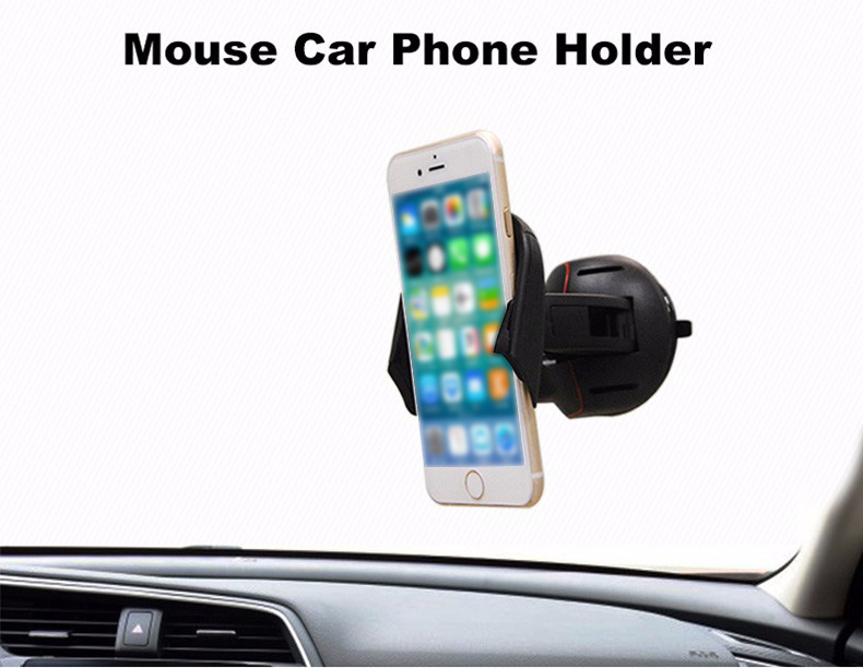Car Mount Holder Mouse Folding Bracket Full 360 Degree Rotation GPS Holder Car Sucker Universal Phone Mount Holder Stand - Black