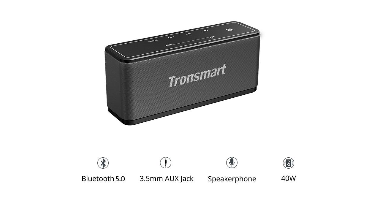 Reproduktor Tronsmart Element Mega SoundPulse ™ Bluetooth 5.0 s výkonným digitálnym zvukom 3D s maximálnym výstupom 40 W, intuitívne dotykové ovládanie TWS - čierne