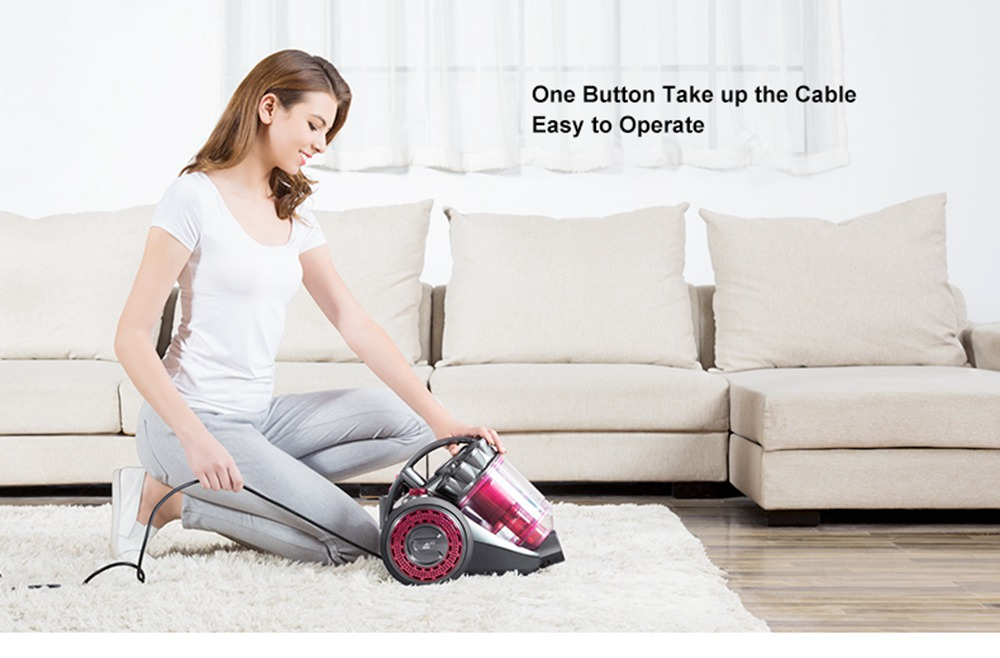 PUPPYOO WP9 Household Canister Vacuum Cleaner - Red