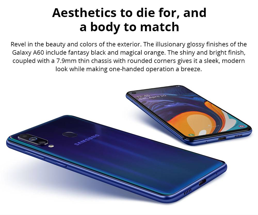 Samsung Galaxy A60 4G LTE Smartphone 6.3 Inch Snapdragon 675G 6GB 128GB 32.0MP+8.0MP+5.0MP Triple Rear Cameras Fingerprint ID Dual SIM Android 9.0 - Shallow Blue