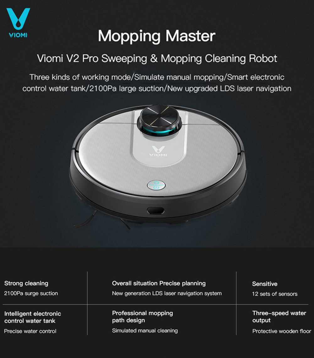 Xiaomi VIOMI Robot Vacuum Cleaner Robot V2 Pro smart cleaning 2100pa High suction - Gray