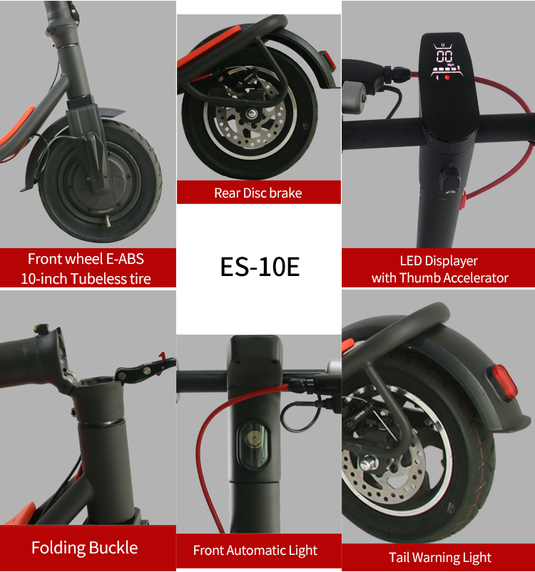 Freego EX-08S-10E Foldable Electric Scooter 350W Motor 10Ah LCD Screen 10 Inch Tires - Black