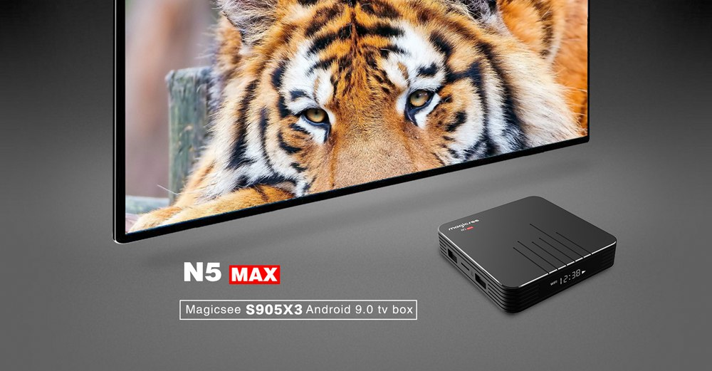 MAGICSEE N5 MAX Amlogic S905X3 Android 9.0 8K Video Decode TV BOX 2GB/16GB 1000Mbps LAN HDMI2.1 2.4G+5G WIFI Bluetooth USB3.0