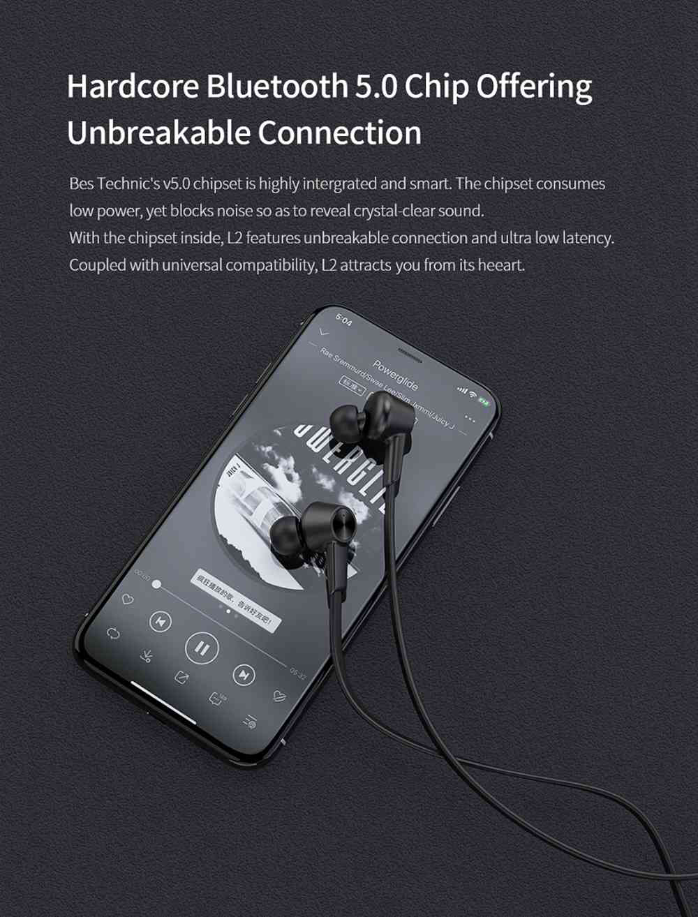 QCY L2 Bluetooth 5.0 Wired Earphones ANC Noise Canceling 13h Battery Life with Mic - Black
